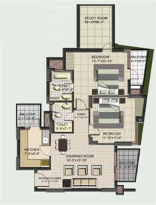 2+1 BHK Floor Plan