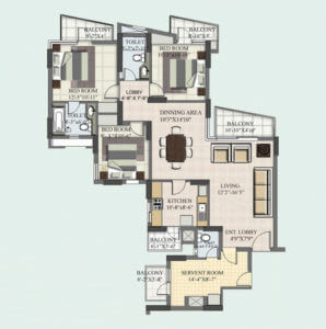 3+1 BHK Floor Plan Servant Room