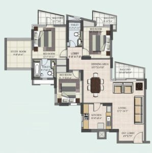 3+1 BHK Floor Plan Study Room